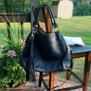 NWOT G.I.L.I. Genuine Leather Black Fringe Bag